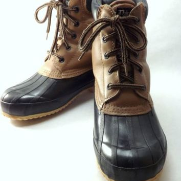 Women Leather Duck Boots Navy Blue Size 8 Vintage Sasson Thinsulate Fleece Lined