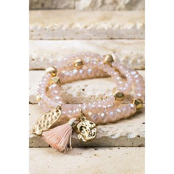 Tassel & Charms Bead Bracelet Set