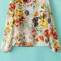 Floral Long Sleeve Backless Blouse