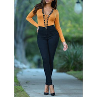 Plonging Neck Long Sleeve Criss-Cross Jumpsuit For Women