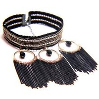 Shingle and Chains Choker Necklace