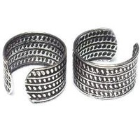 Ear Cuff Pair Antique classic pattern sterling silver