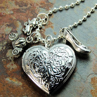 Cinderella Necklace Silver Charm Locket for girls or women