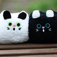 Kawaii Black & White Kitty Fleece Socks Set (2 pairs)