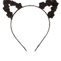 Black Combo Black Rose Cat Ears Headband by Charlotte Russe