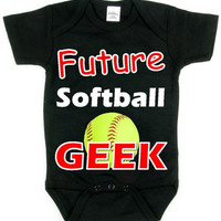 Future Softball Geek Red and White Design Baby Shirt Collection