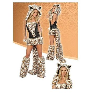 Halloween Leopard Print Big Tail Wolf Costume