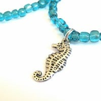 Stretch Cord Belly Chain with Seahorse Charm and Sea Green Glass Beads