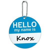 Knox Hello My Name Is Round ID Card Luggage Tag