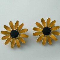 Enamel Sunflower Clip On Earrings Signed Art