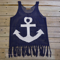 Knottingham Navy Anchor Tassel Top