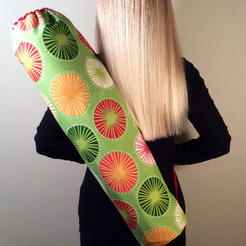 Handmade Yoga Bag, Mat Tote, Carrier - READY TO SHIP! Green with Colorful Starburst Print, Fully Lined with Red Canvas