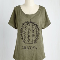 Americana Mid-length Short Sleeves Pointy of Interest Top