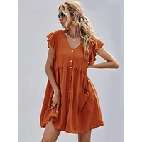 Dual Pocket Butterfly Sleeve Smock Dress