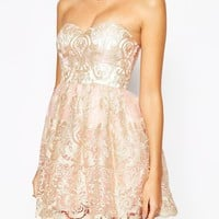 Chi Chi London Petite Embroidered Lace Bandeau Prom Dress