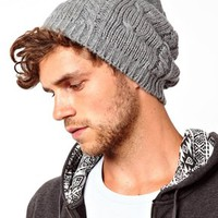 ASOS Cable Oversized Beanie In Gray