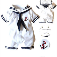 Summer Baby Rompers Costume Newborn Baby Romper Baby Boy Clothes Cotton Baby Clothing Navy Collar Style Overall Romper Jumpsuit