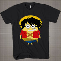 LUFFY MINION PARODY  Mens and Women T-Shirt Available Color Black And White