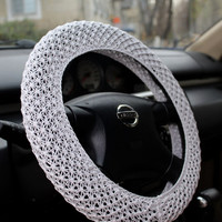 Crochet steering wheel cover – knitted steer cover – car decor, accessories – automobile gift, car gift