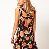 Minkpink Bittersweet Dress with Cross Back in Floral Print at asos.com