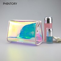 Transparent Holographic Laser Cosmetic Bags Women Candy Color Clutch Designer Ladies Beach Make Up Bag Waterproof Toiletry Bags