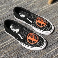 """""""Vans"""" Unisex Casual Classic Personality lightning Canvas Slip-on Shoes Fashion Couple Flat Shoes"""
