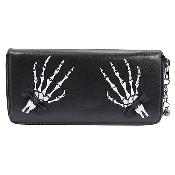 Gothic Lolita Skeleton Hands with Black Bow Zip Around Wallet