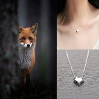 Womens 925 Silver Simple Blue Eyes Fox Pendant Necklace + Gift Box Jewelry-74