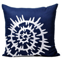 """Sea Shell Pillow Cover, Navy Blue Linen with White Shell, Decorative Throw Pillow Cover, Pillow Case 18"""" x 18"""", Beach Decor, Cottage Cushion"""