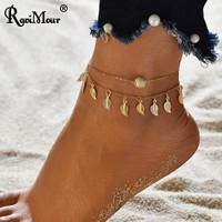 RAVIMOUR Anklets for Women Ankle Bracelet Femme Jewelry Gold Silver Leaves Matte Ball Bohemian Leg Foot Chain Beach Jewellery