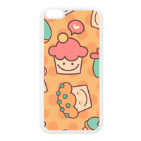 Cute Funny Cupcakes Pattern on Yellow Polka Dots White Silicon Rubber Case for iPhone 6 Plus by UltraCases