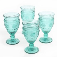 The Pioneer Woman Adeline Embossed 12-Ounce Footed Glass Goblets, Set of 4 - Walmart.com