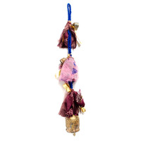 Hanging Strand of Hand Hammered Indian Bells with Upcycled Sari Accents