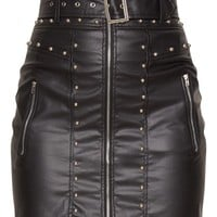 Black Faux Leather Stud Detail Belted Mini Skirt