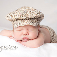 Lil Golfer Cap Tweed Crochet with matching Diaper Cover Newborn size