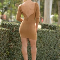Dip It Low Dress - Camel