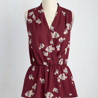 Great Gal in the Corner Office Sleeveless Top in Maroon Bloom   Mod Retro Vintage Short Sleeve Shirts   ModCloth.com