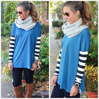 Racing Stripes Blue Stripe Sleeve Tunic