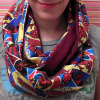 Spiderman Infinity Scarf - Marvel Comics - Soft Red Cotton Flannel - Woman Teen or Pre-teen or Girl - Amazing Spiderman Infinity Scarf
