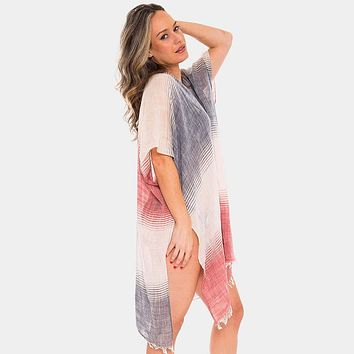 Three Tone Ombre Cover-up Cardigan Poncho