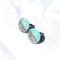 Round mint and silver glitter stud earrings,resin stud earrings,tiny studs,glass stud earrings,gift for her,tiny stud earrings