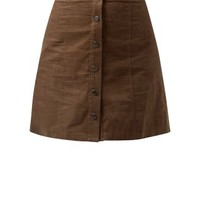 Khaki Button Front Cord Mini Skirt