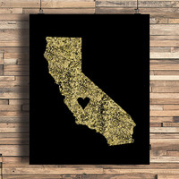 California With Heart Faux Gold Foil Art Print, Minimalist Art, Home, Office, Bathroom, Dorm, Work Decor, Nursery Art, Housewarming Gift