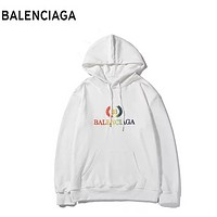 Balenciaga New fashion bust multicolor gradient letter leaf print couple hooded long sleeve sweater White
