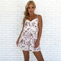 Flutter in the Wind Floral Romper in White