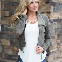 Not Even Trying Suede Crop Zipper Jacket Olive