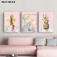 Golden Marble Pink Pineapple Poster Canvas Print Cactus Wall Art Painting Wall Picture for Living Room Nordic Home Decoration