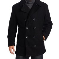 London Fog Men's Admiral Double Breasted Notch Collar Peacoat