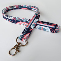Floral Lanyard / Navy Bue & Pink / Floral Keychain /  Lanyards / Keychain / Gray / Fabric Lanyards / Badge Holder