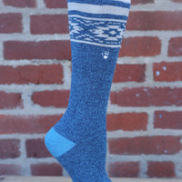 Terry Sock by BearPaw {Teal Blue with Aztec Pattern}